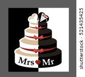 wedding cake groom and bride....   Shutterstock .eps vector #521435425