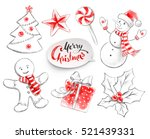 collection of christmas objects. | Shutterstock . vector #521439331