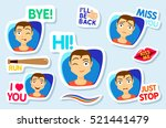 collection of stickers for chat ... | Shutterstock .eps vector #521441479