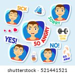 collection of stickers for chat ... | Shutterstock .eps vector #521441521