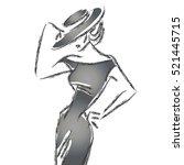 black and white retro fashion...   Shutterstock .eps vector #521445715