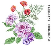 purple peonies  red poppies and ... | Shutterstock . vector #521445961