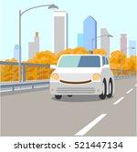 self driving smiling car on... | Shutterstock .eps vector #521447134