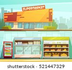 supermarket building entrance... | Shutterstock .eps vector #521447329