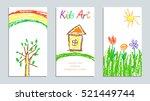 set of wax crayon kid s drawn...   Shutterstock .eps vector #521449744