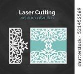 laser cut template. card for... | Shutterstock .eps vector #521453569
