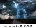 Lightning storm over asphalt...