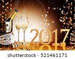 celebrating 2017 new years eve... | Shutterstock . vector #521461171