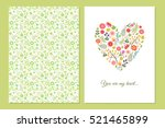 Stock vector cute vintage floral cards set heart shape with flowers and leaves beautiful background cards for 521465899