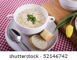 Dutch mustard soup with tulip. - stock photo