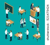 isometric set of teachers and... | Shutterstock .eps vector #521475424