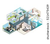 isometric house interior view... | Shutterstock .eps vector #521475439