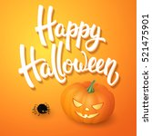halloween greeting card with... | Shutterstock . vector #521475901