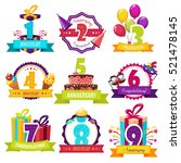 birthday party colorful emblems ... | Shutterstock .eps vector #521478145