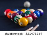 Blue Billiard Table With All...