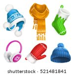 winter clothes. knitted hat.... | Shutterstock .eps vector #521481841