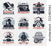 nine isolated vintage detective ... | Shutterstock .eps vector #521483461