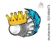 shuttlecock with crown and blue ... | Shutterstock .eps vector #521486671