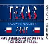 texas usa state flag font.... | Shutterstock .eps vector #521486821