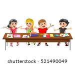 happy brat kids or children... | Shutterstock .eps vector #521490049