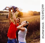 young father and mother playing ... | Shutterstock . vector #521492299