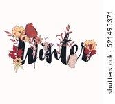 flowers typography poster... | Shutterstock .eps vector #521495371