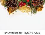 christmas wreath holiday fir... | Shutterstock . vector #521497231