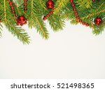 new year background. red balls... | Shutterstock . vector #521498365