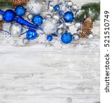 merry christmas branches blue... | Shutterstock . vector #521510749