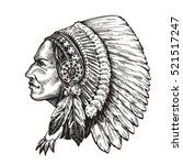 american indian chief. hand... | Shutterstock .eps vector #521517247