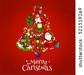 vector poster with christmas... | Shutterstock .eps vector #521519269