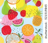 seamless fruit pattern with... | Shutterstock .eps vector #521519845