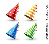 party hat set isolated on a... | Shutterstock .eps vector #521520721