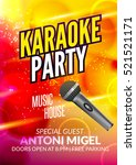 karaoke party invitation poster ... | Shutterstock .eps vector #521521171
