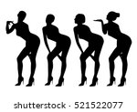 sexy woman black silhouette set | Shutterstock .eps vector #521522077