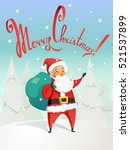 funny santa with a bag... | Shutterstock .eps vector #521537899