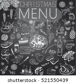 hand drawn christmas menu with... | Shutterstock .eps vector #521550439