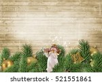 christmas decoration with angel ... | Shutterstock . vector #521551861
