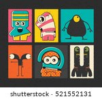 set of six retro postage s... | Shutterstock .eps vector #521552131