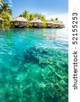 over water bungalows with steps ...   Shutterstock . vector #52155253