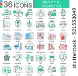 vector beauty cosmetics flat... | Shutterstock .eps vector #521553049