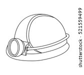 miner's helmet icon in outline... | Shutterstock .eps vector #521559499