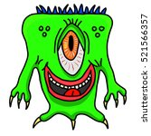 crazy whacky funny space alien... | Shutterstock .eps vector #521566357