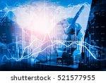 double exposure businessman and ... | Shutterstock . vector #521577955