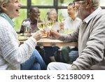 group of senior retirement meet ... | Shutterstock . vector #521580091