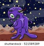 crazy funny alien type... | Shutterstock . vector #521589289