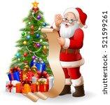 santa claus reading a long list ... | Shutterstock . vector #521599261