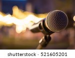 selective focus microphone in...   Shutterstock . vector #521605201