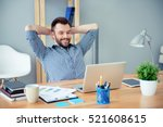 Small photo of Young happy worker having break and resting after solving task