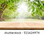 empty wooden table with garden... | Shutterstock . vector #521624974